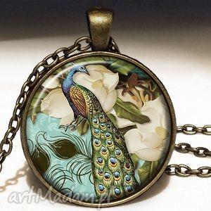 wiktoriański paw - duży medalion z łańcuszkiem, naszyjnik
