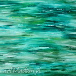 obrazy obraz na prezent morska toń, obraz, morze, zieleń, prezent, akryl, abstrakcja