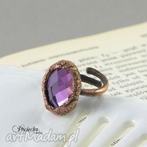 violet crystal - pierścionek, miedź, retro, elektro formowanie