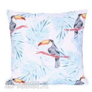 poduszka frosty blue toucan 40x40cm od majunto, tukany, w tukany