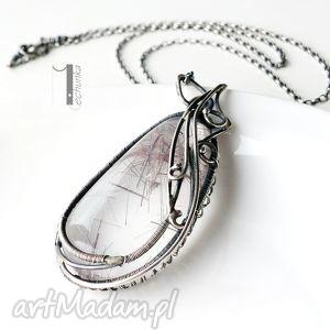 auril - srebrny naszyjnik z kwarcem rutylowym - kwarc, rutyl, srebro, wire, wraping