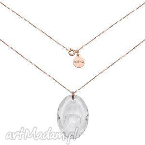 długi naszyjnik z różowego złota z buddą swarovski® crystal