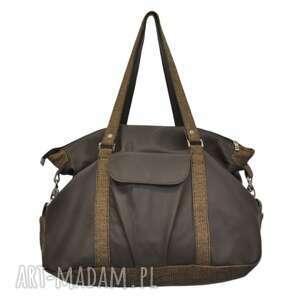 na ramię 07-0012 brązowa torebka sportowa torba fitness pigeon, modne, markowe