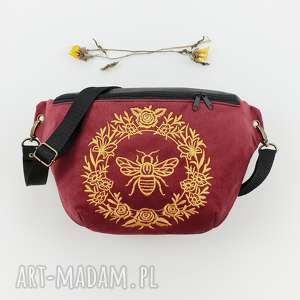 nerka xxl pszczoła - ,nerka,haft,elegancka,bordowa,pszczołka,pszczoła,