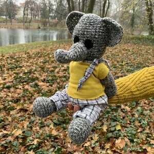 zabawki benjamin - szydełkowy słonik, personalizacja, maskotka słoń
