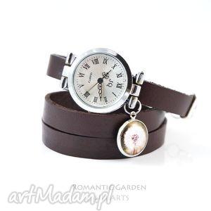 Bransoletka, zegarek - dmuchawiec ciemny brąz, skórzany liliarts