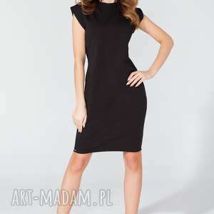 sukienka midi z oryginalnym dekoltem t108 kolor czarny - tessita, sukienka