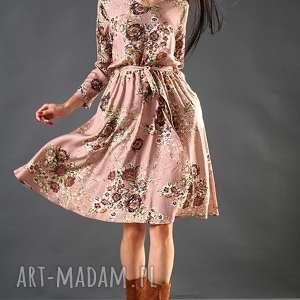 sukienki pudrowa sukienka w kwiaty paloma, sukienka, midi, wiskoza