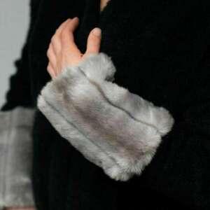 hand made szaliki mankiety z futra szare