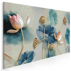 obraz na płótnie - kwiaty atramentowy abstrakcja 120x80 cm (99101)