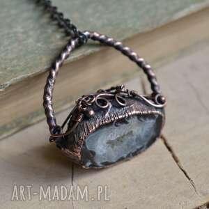 geoda w miedzi - naszyjnik surowym stylu, z miedzi, biżuteria