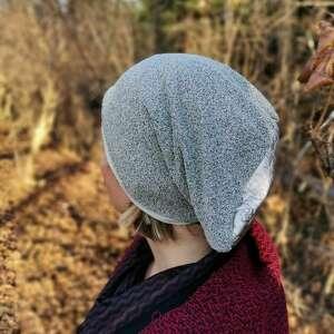 handmade czapki czapka damska uniwersalna szara na podszewce góra srebrna, polecam box