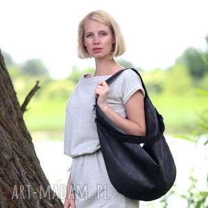 Grafitowa torba worek z zamszu ekologicznego czarnymi rączkami