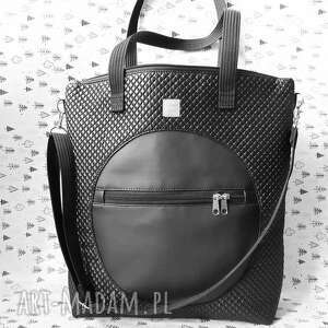 torba catoo premium #06, duża torba, mieszcząca a4, czarna na ramię, szoperka