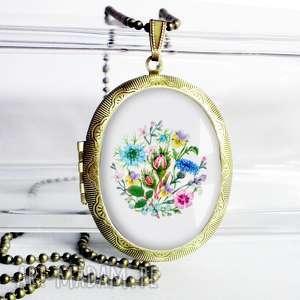 RETRO BUKIECIK W SZKLE :: śliczny stylowy naszyjink medalion otwierany, retro, kwiaty
