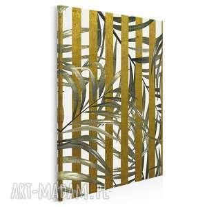 Obraz na płótnie - liście złoty pasy w pionie 50x70 cm 64603