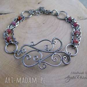 bransoletka naturalny rubin, wire wrapping, bransoletka, stal
