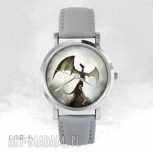 zegarek - smok cienia szary, skórzany, unisex, zegarek, bransoletka, skórzany