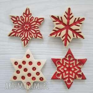 magnesy komplet 4 gwiazdek magnesów, świąteczne, dekoracje świąteczne