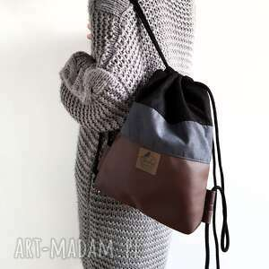 ręczne wykonanie plecak worek nubuk & ekoskóra