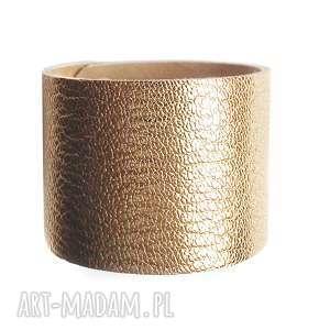 bransoletka skórzana złota mankiet