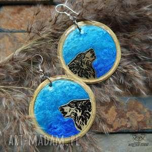 duże kolczyki wilki i księżyc - ręcznie malowany mosiądz pod