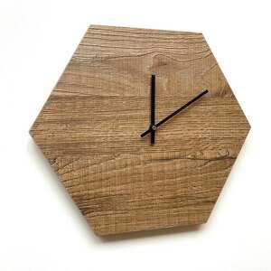zegar ścienny drewno, hexagon, ścienny, designerski