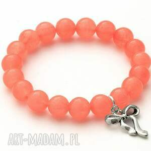jade with bow pendant in pink orange - jadeit