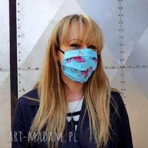 kolorowa damska maseczka we flamingi niebieska ochronna maska do twarzy bawełna