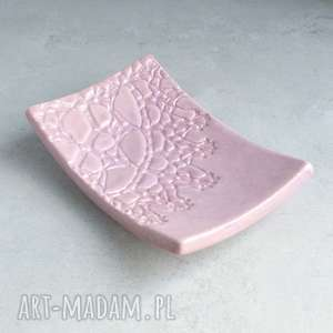 Mydelniczka ceramiczna, łazienka, mydelniczka, folk, koronka, wrzos, ceramika