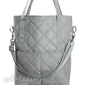 szara zamszowa torba a4 w kształcie prostokąta z kieszeniami, torba, torebka