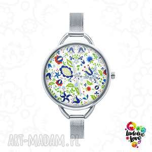 zegarki zegarek z grafiką kaszubskie kwiaty, folk, kaszuby, etniczne, ludowe, prezent