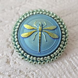 shiny buttons ::dragonfly::, ważka, haft, koraliki
