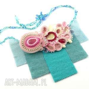 Naszyjnik Sakura - soutache & beading - ,beading,sutasz,japonia,sakura,naszyjnik,glamour,
