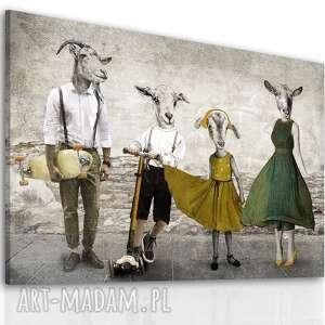 nowoczesny obraz na płótnie z kozami - rodzina kozłowskich -2 2 02378, kozy
