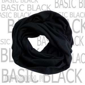 komin, szal-koło basic black, bawełniany, czarny szal, szalik, bawełna