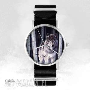 zegarki zegarek - szary wilk czarny, nato, unisex, zegarek, bransoletka, nato