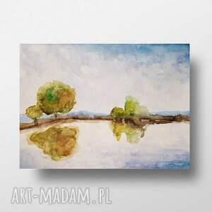 paulina lebida pejzaż-akwarela formatu 32/24 cm, akwarela, papier, drzewa