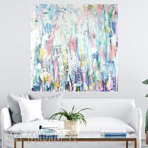 jasny obraz abstrakcyjny 100x100, do salonu, abstrakcja, nowoczesny
