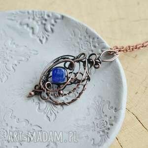 universe - naszyjnik wire wrapping z agatem niebieskim, wisiorem