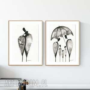 zestaw 2 oryginalnych grafiki czarno-białych a4, abstrakcja, elegancki