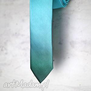 krawat ombre - turkus, krawat, nadruk, ombre, prezent, śledzik, świąteczny