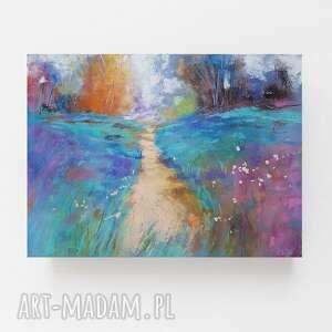 pejzaż-praca wykonana pastelami suchymi formatu a4, pejzaż, papier, pastele