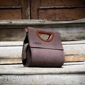 stylowa damska torebka w kolorze brązowym, ręcznie wykonana łezka
