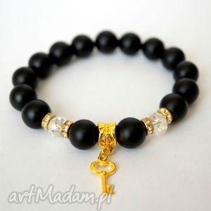 Bransoleta black onyx&gold key - ,onyks,cyrkonie,swarovski,zawieszka,kluczyk,klucz,