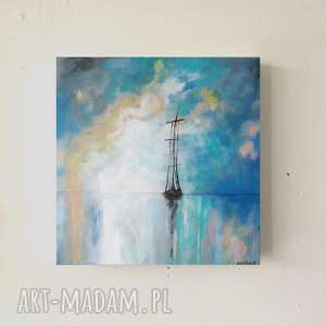 morze turkusowo-ŻÓŁte -obraz akrylowy formatu 35/35 cm, morze, akryl, obraz