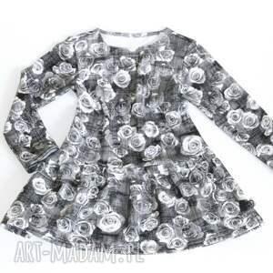 dziewczęca sukienka - grey rose rozm 74-80 lub 86-92, sukienka, dzianinowa, kwiaty