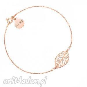 bransoletka z różowego złota z ażurowym liściem sotho