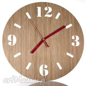 Zegar tradycyjny z drewna bambusowego naturalny, zegar, drewno, bambus, ścienny