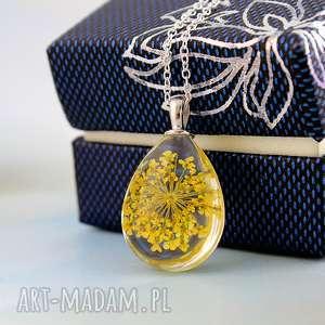 Żółty kwiat - naszyjnik - kwiat, suszony, szkło, łańcuszek